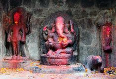 Red painted Lord Ganesha Stock Photography