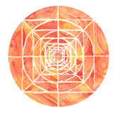 Red painted mandala. A orange and red mandala hand painted with watercolors. Isolated with white background Royalty Free Stock Images