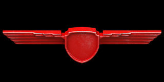 Red painted metal wings isolated on black background top view. 3 Royalty Free Stock Photography