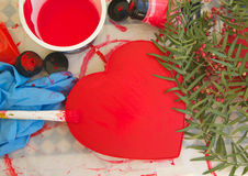 A red painted paper box in the form of a heart Royalty Free Stock Photography