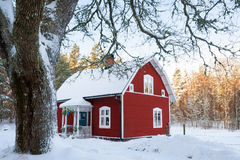 Red painted Swedish wooden house in a wintry landscape Stock Images