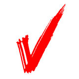 Red painted tick. And white background vector illustration Stock Photo