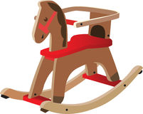 Red painted wooden horse Stock Photos