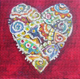 Red painting abstract heart. Hippie style. Ethnic pattern. Interior decor. Poster Royalty Free Stock Images