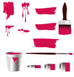 Red paints, paint brushs and bucket Stock Photos