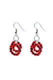 Red pair of earrings. Pair of earrings royalty free stock image