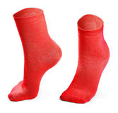 Red pair of socks isolated on white background Royalty Free Stock Photo