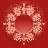 Red paisley banner Stock Images