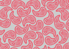 Red paisley pattern. Vector illustraition of repeating red paisley pattern on grey background Royalty Free Stock Image