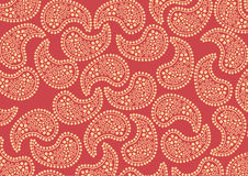 Red paisley pattern. Vector illustraition of repeating orange paisley pattern on red background Royalty Free Stock Image