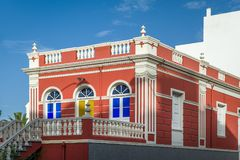 Red palace balcony at the center of La Orotava Royalty Free Stock Photos