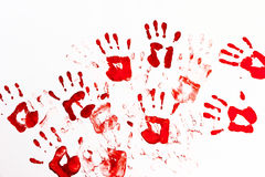 Red palm prints Stock Image