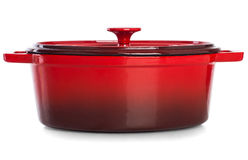 Red Pan for cooking the daily meal. Royalty Free Stock Image