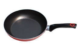 Red pan with handle on white Stock Images