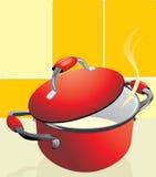 Red pan with porridge Royalty Free Stock Photo