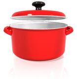 Red pan with a raised lid on a white background Stock Image