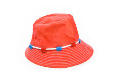 Red Panama hat isolated on white background Stock Photos
