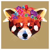 Red panda with floral crown Royalty Free Stock Image