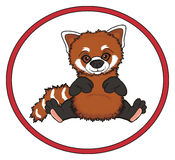 Red panda and road sign Stock Photos