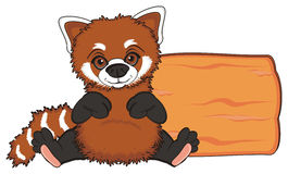 Red panda and wooden object Stock Images