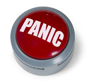 Red Panic Button. Red circular panic button isolated against a white background Royalty Free Stock Photos