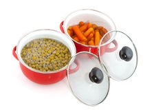 Red pans with vegetables Royalty Free Stock Image