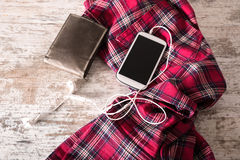 Red pants, a wallet and a smartphone Royalty Free Stock Photos