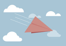 Red paper airplane flying in sky Royalty Free Stock Photography