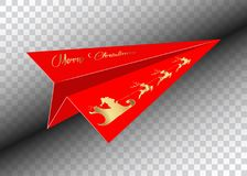 Red Paper airplane, Merry Christmas, golden Santa Claus with a reindeer flying,  isolated.  Royalty Free Stock Photography