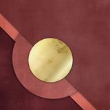 Red paper background with gold circle button Stock Images