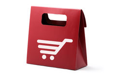 Red paper bag with basket symbol Stock Photo