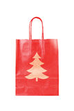 Red  paper bag with christmas tree symbol Stock Photography