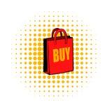 Red paper bag comics icon Stock Photo