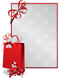 Red paper bag decorated with holly berry. And space for text , , illustration Stock Images