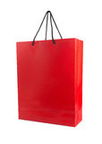 Red paper bag isolated on white. Royalty Free Stock Images