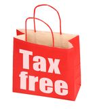Red paper bag with tax free sign Stock Photo