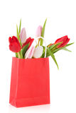 Red paper bag tulips Stock Photography