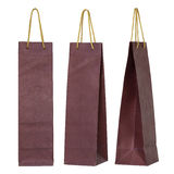 Red paper bag for wine bottles isolated on white Stock Photos