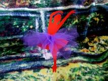 Red Paper Ballerina`s Media Art Piece stock photography