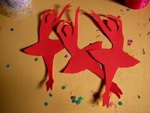 Red Paper Ballerina`s Media Art Piece royalty free stock photo