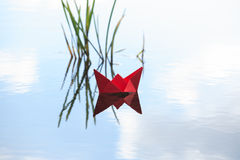 Red Paper Boat Royalty Free Stock Photography