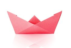 Red Paper Boat Royalty Free Stock Images
