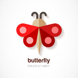 Red paper butterfly, vector logo template. Abstract flat icon. D Stock Images