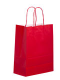 Red paper carrier bag, shopper, isolated on white Royalty Free Stock Photo