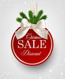 Red paper christmas ball with white bow. Christmas red ball with white ribbon and satin bow. Vector illustration Royalty Free Stock Photo
