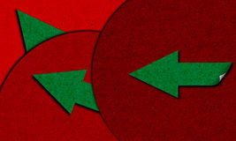 Red paper circles with arrows. Texture made of red circles and green arrows stock illustration