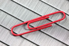 Red paper clip Stock Photos