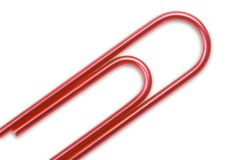 Red paper clip macro Royalty Free Stock Photos