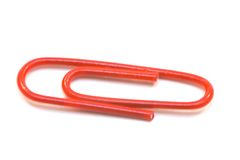 Red paper clips Stock Photos
