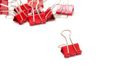 Red paper clips closeup Stock Photo